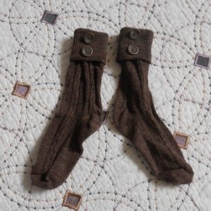 EUC Warm Cable Knit Brown Boot Socks